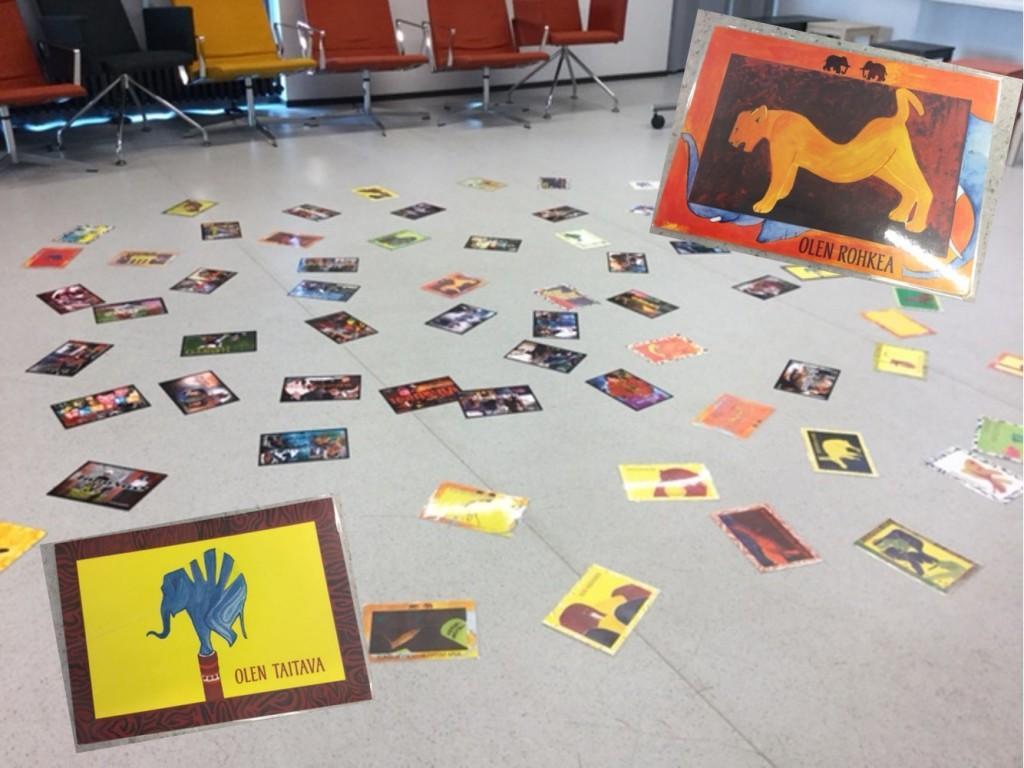 Päivä alkaa aamun fiiliksen ja valmennuksen odotuksia kuvaavien korttien valinnalla.
